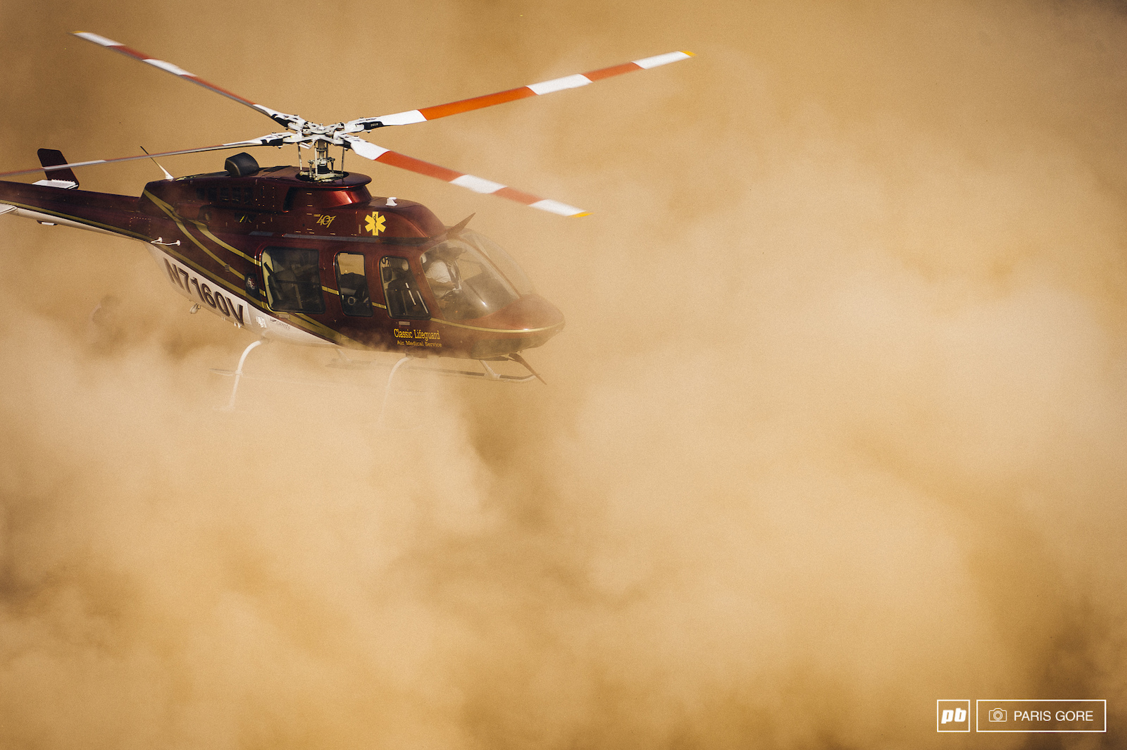 One ballsy pilot to land in the dust storm in order to transport Paul Bas off the Rampage site. Everyone from Pinkbike wishes Paul a speedy recovery.