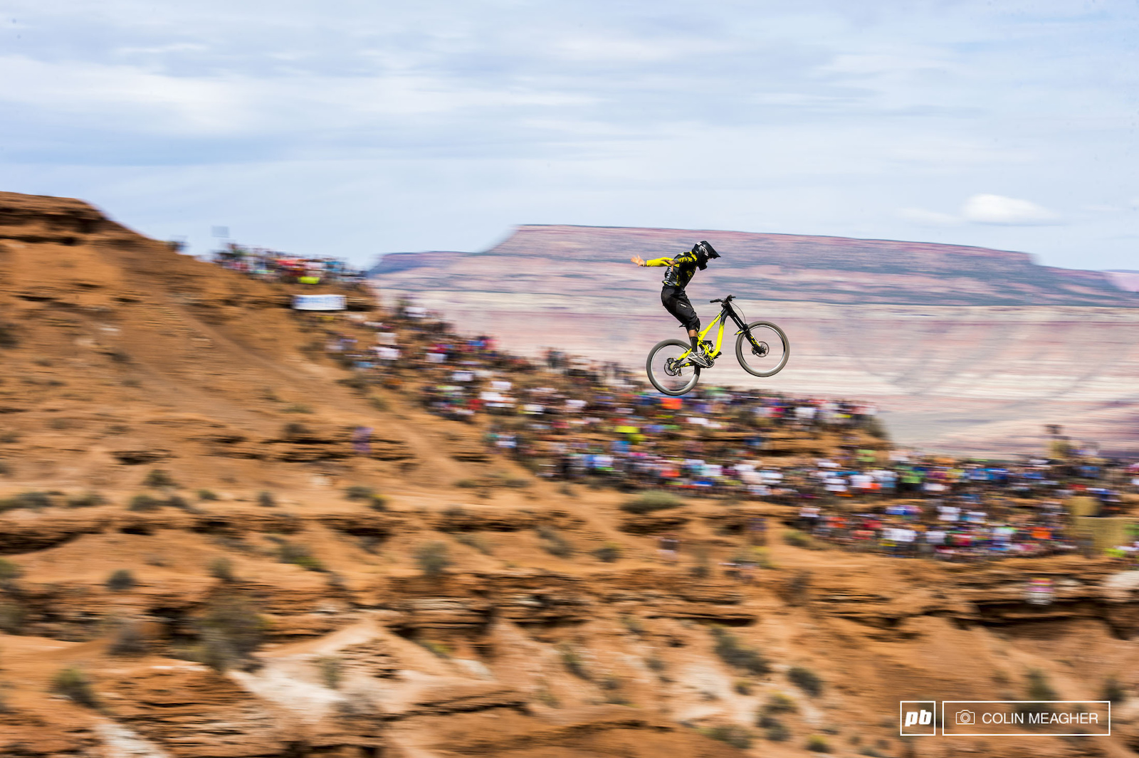 Another DH racer with Rampage chops Remi Metailler throwing the suicide no-hander across the canyon gap.