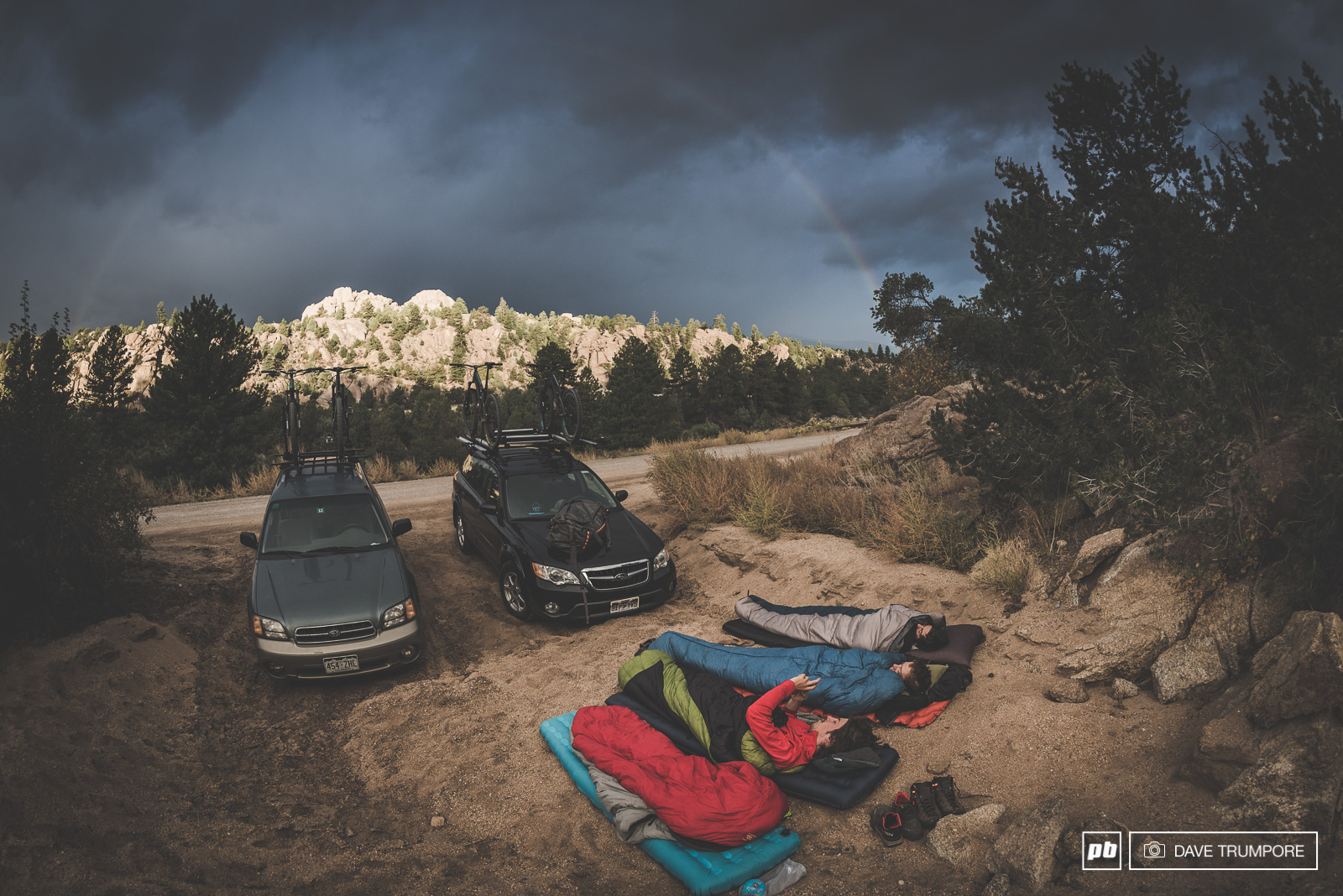 While rainbow was a visual to awake to it became very apparent that the sky was quickly turning black and heading our way. So half asleep we packed up and pinned it in the opposite direction.