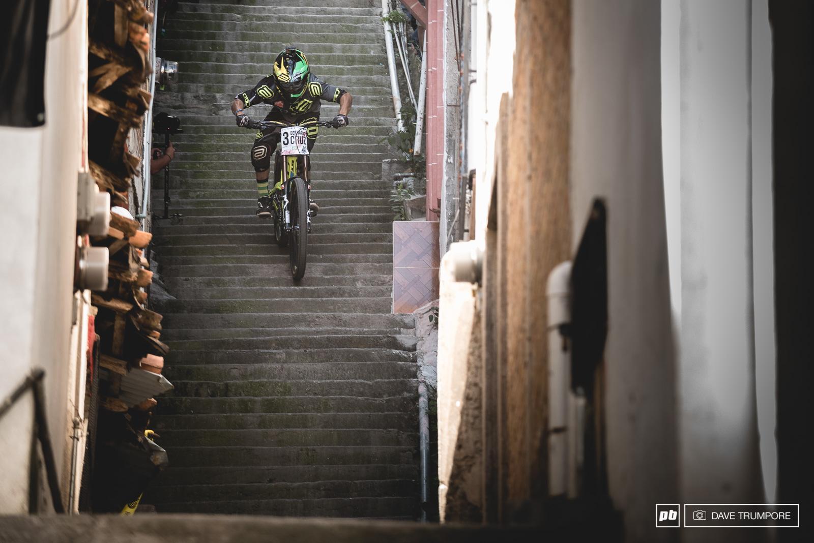 No one hits stairs as fast as Bernardo Cruz.