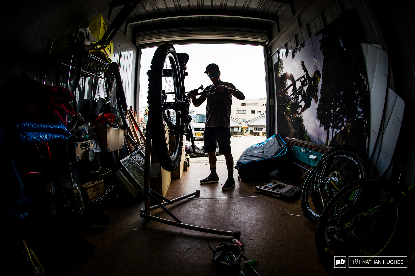 Bernado builds up his GT quiver at Hiroshi s garage which became our base-camp in suburban Osaka.