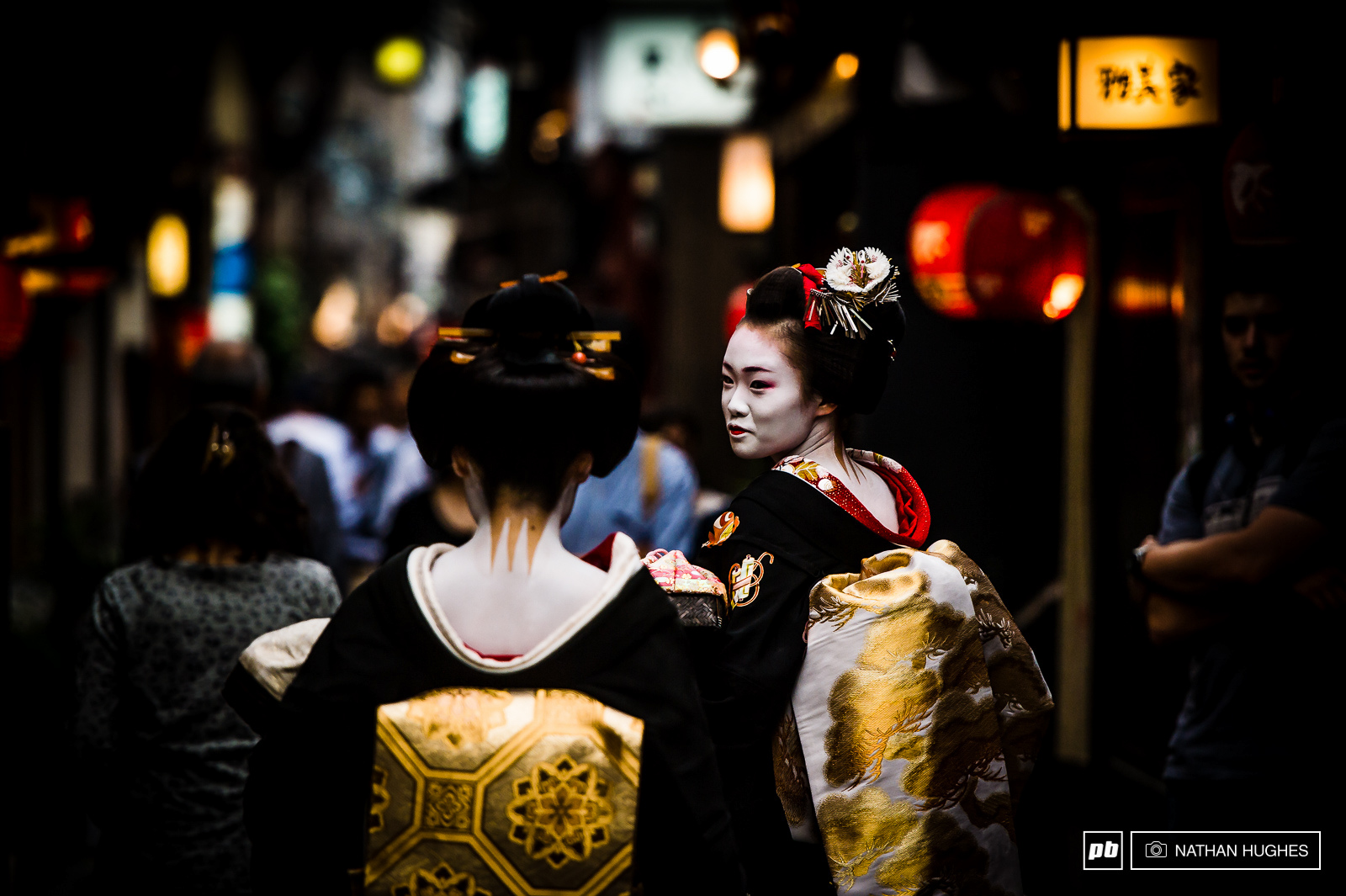 Authentic Geisha s headed to work at Pontocho alley in Kyoto.