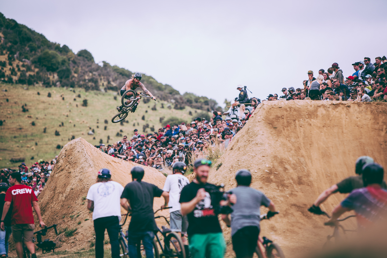 The crowds could get up close and personal with the riders