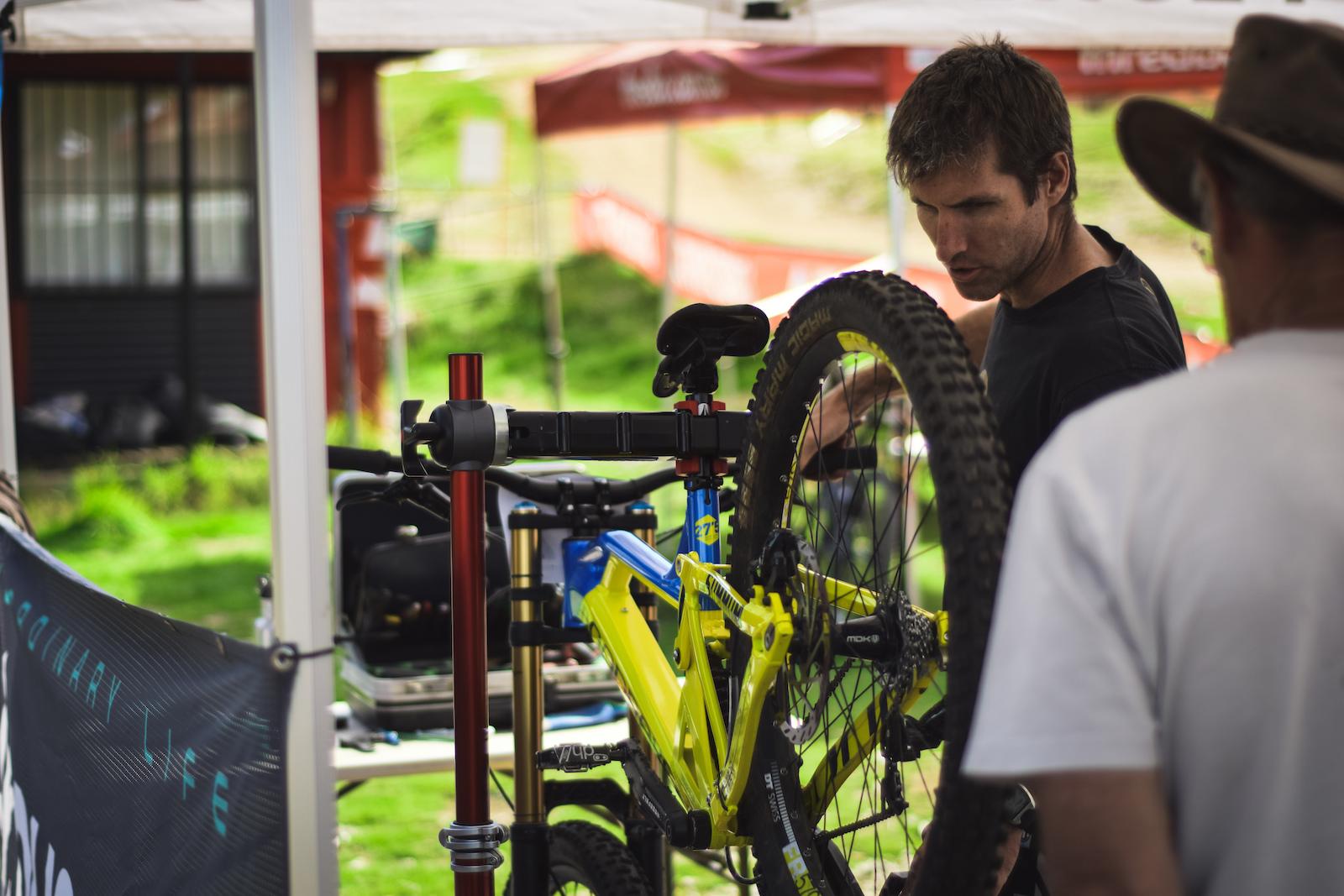 Paul working on team bikes