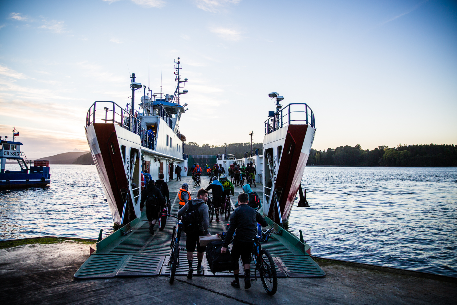 Loading in the ferry between Niebla and Corral. Valdivia. Chile. Photo by Matt Wragg.