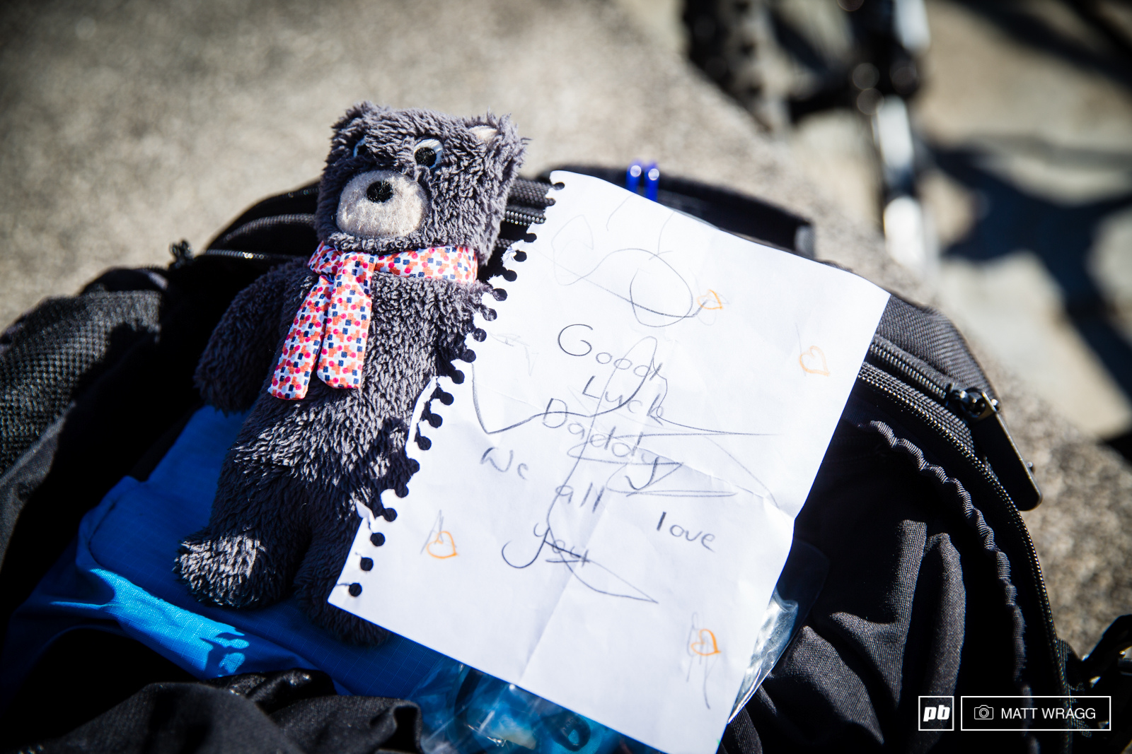 Justin Leov found a nice surprise in his bag this morning - a note from his family.
