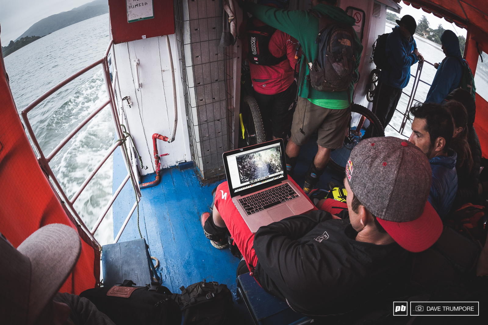 Ferry shuttles provide that last bit of downtime to study helmet cam footage before the big race. With only one run prior on each stage racers were still heading out pretty blind.