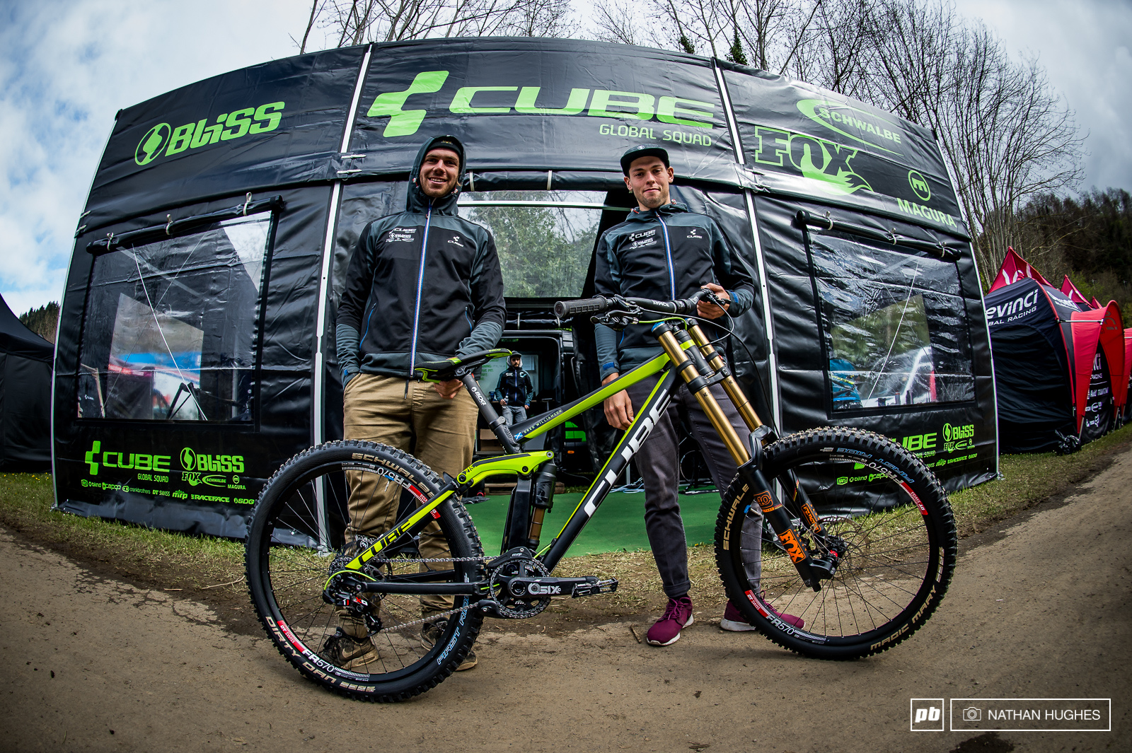 Matt Walker and Greg Williamson representing the newly formed green-team, the Cube Global Squad, on the Two15 downhill bike.