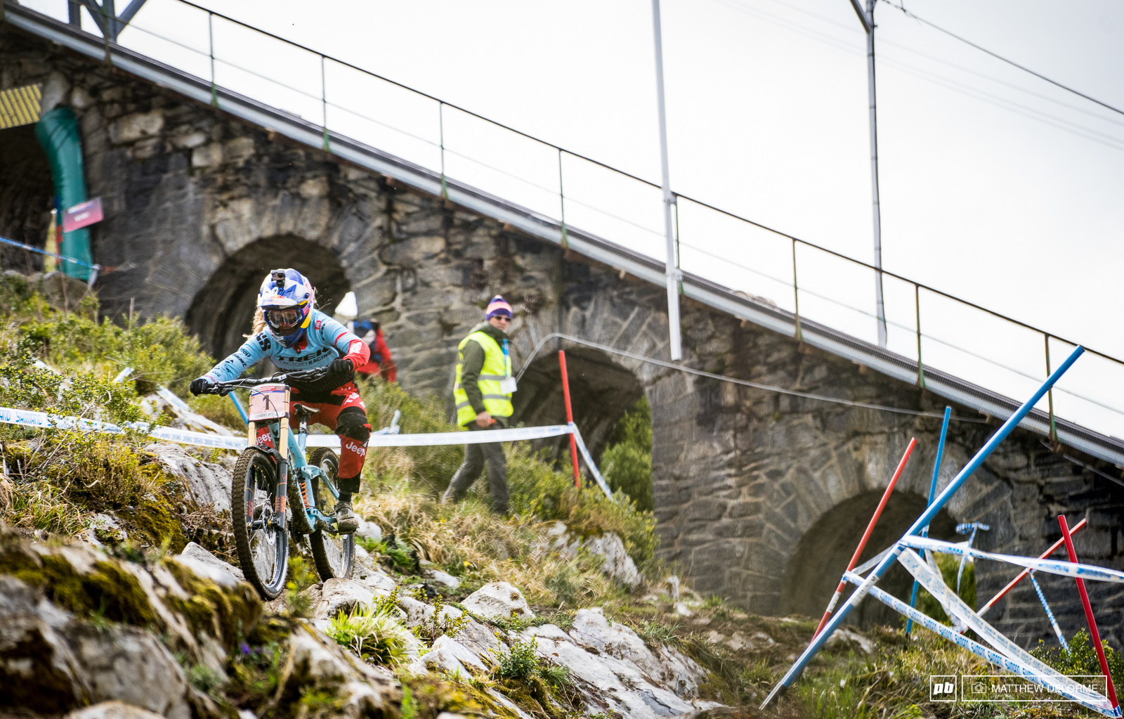 Rachel Atherton easily took the fastest time in training today. She was some four seconds up on the field.