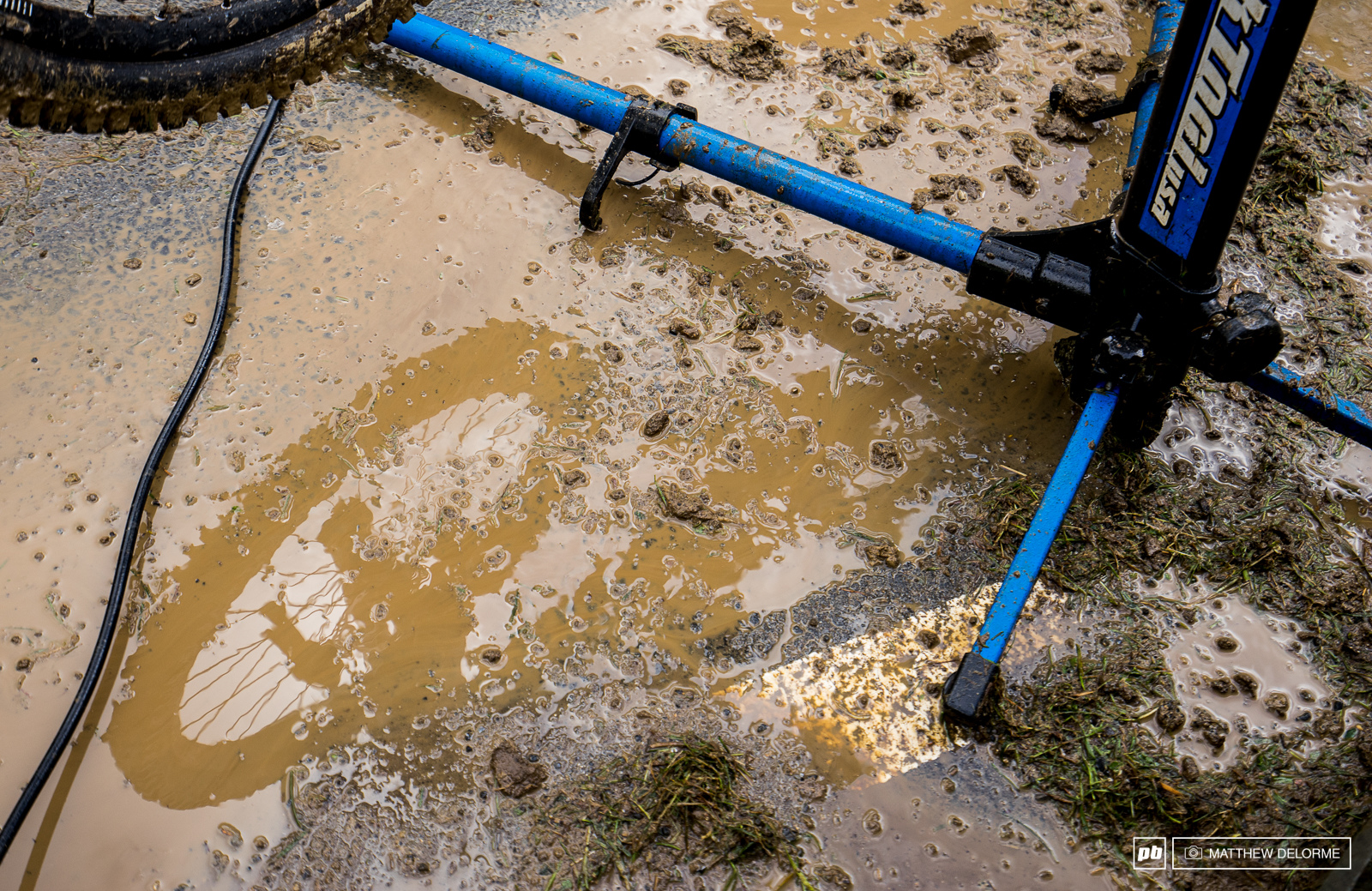 Pretty sure the holy water is going to get funky if these bikes keep collecting so much mud.