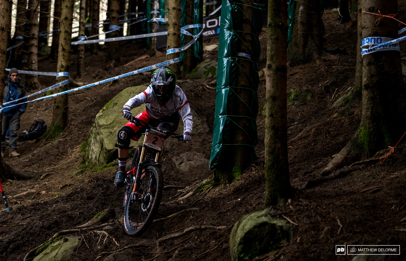 Manon Carpenter throws a shape while riding to a third place qualifying result today.