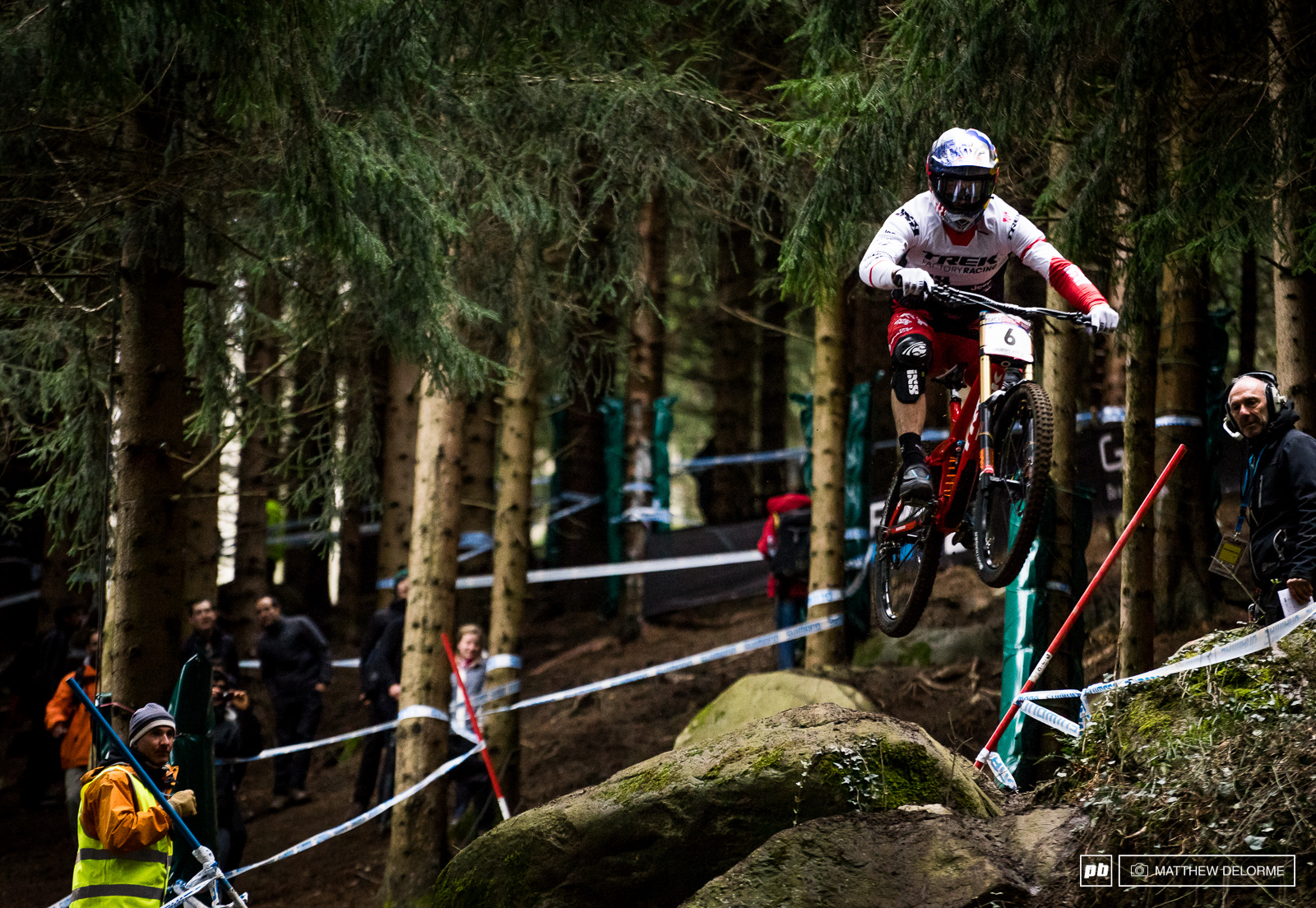 Gee Atherton hucked the rock drop clearing all the gnarled roots below. Gee qualified third.