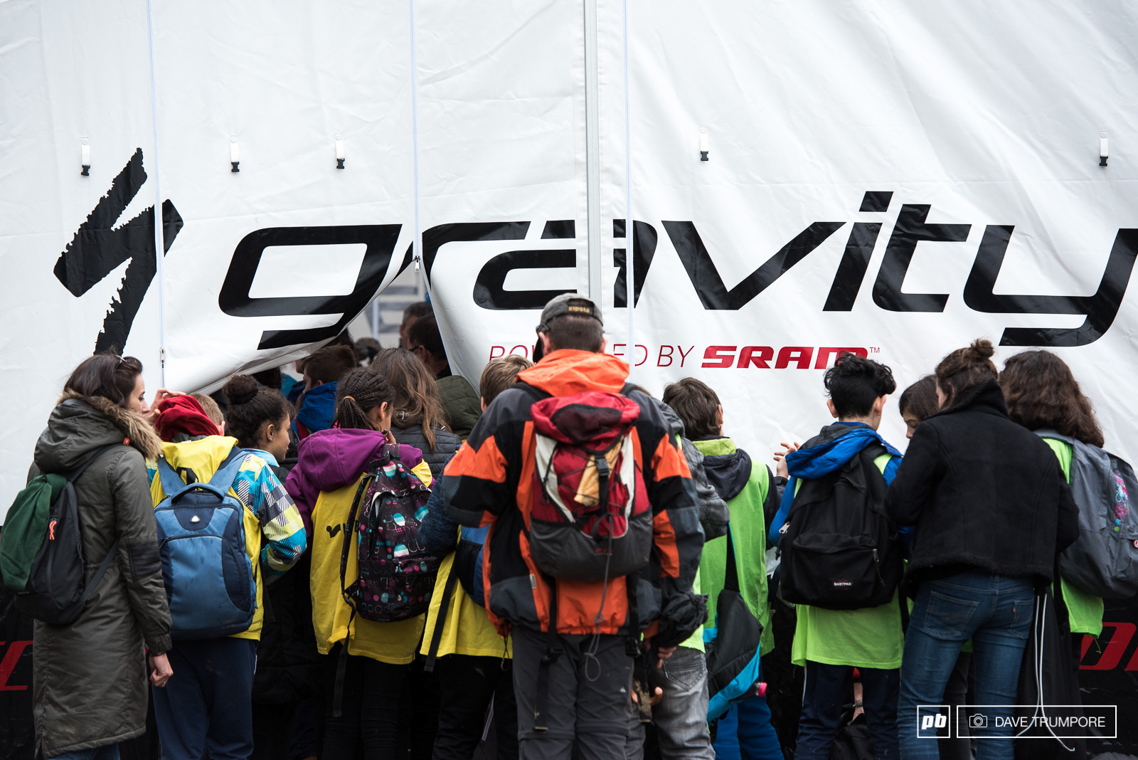 Standing room only in the Specialized gravity pits after Loic took top honors today.