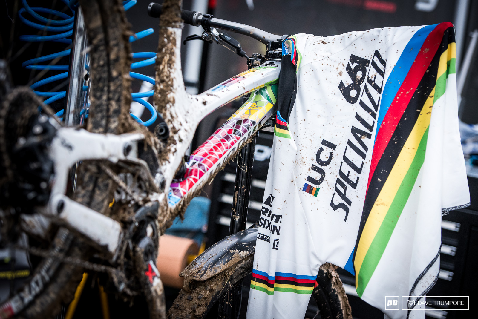 Logic finally got to christen the rainbow jersey with a mix of Lourdes holy water and divine mud.