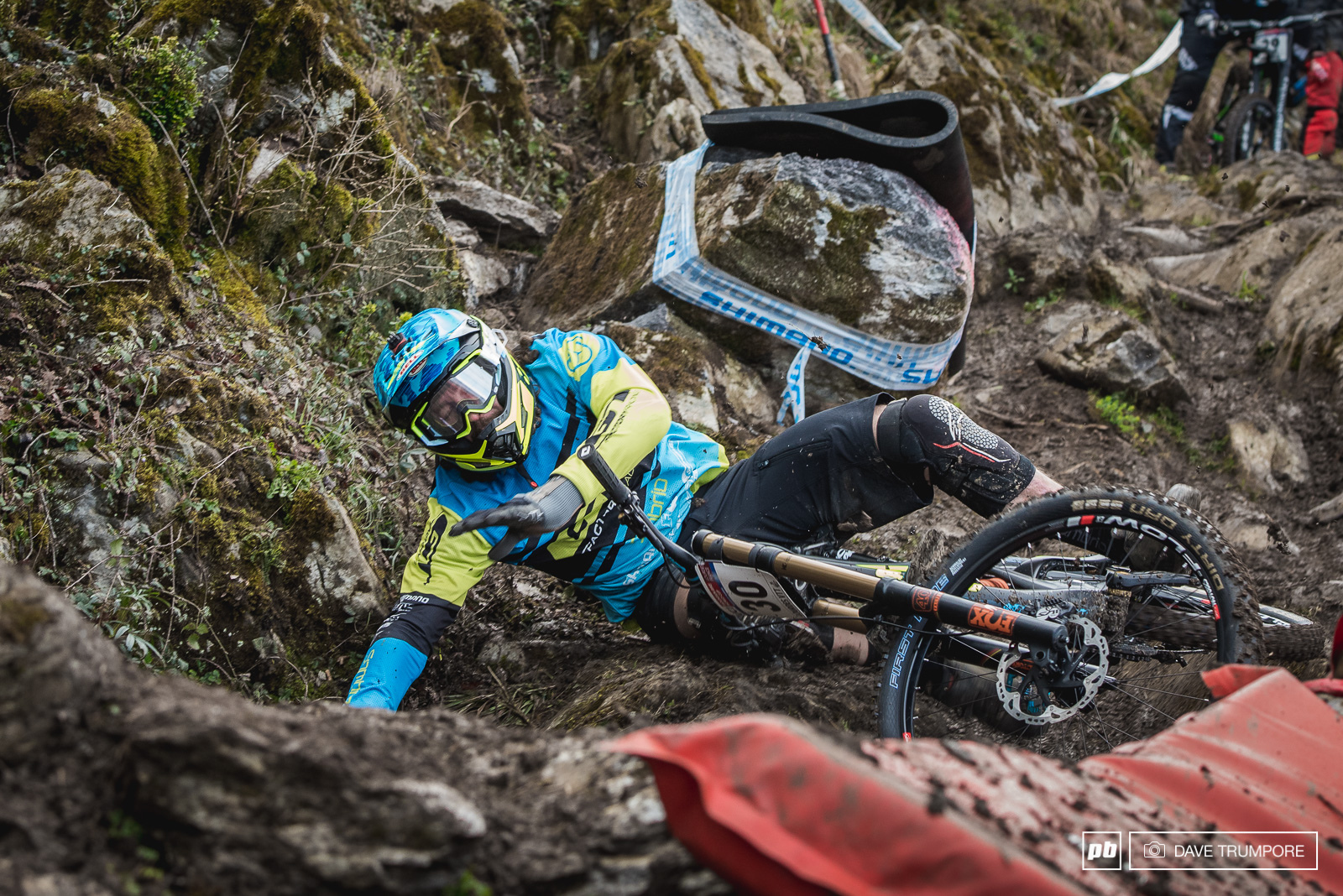Wynn Masters had a bit of a rough on today while nursing an injured wrist down a slick and rowdy track in Lourdes.