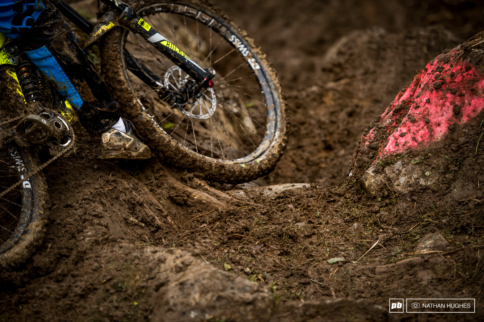 Riders were getting swapped left to right throughout the upper rock gardens due a thick layer of unwelcome slime.