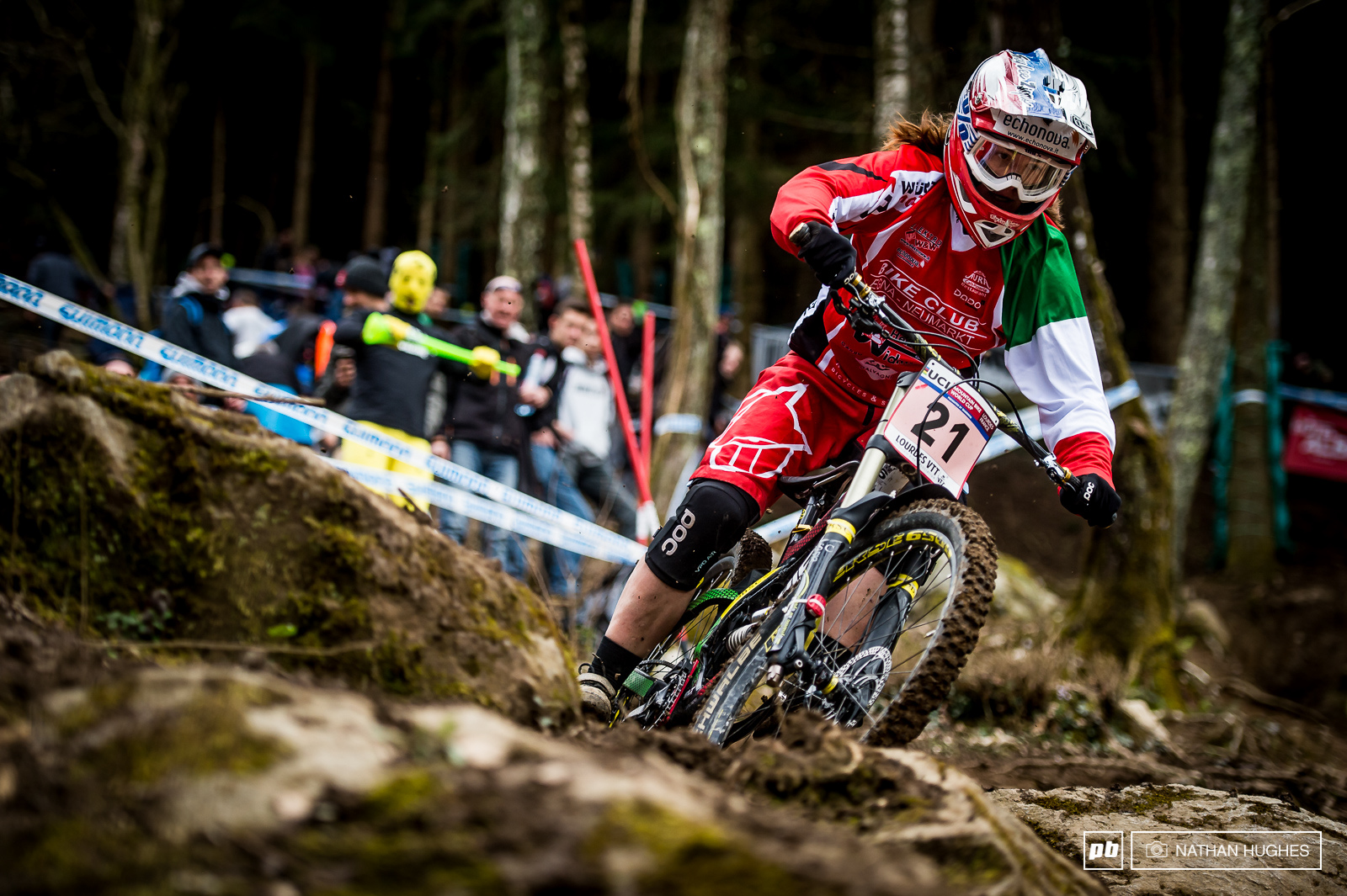 The young Italian national champ Veronika Widmann pulled out all the stops in the mud this afternoon flying into sixth place.