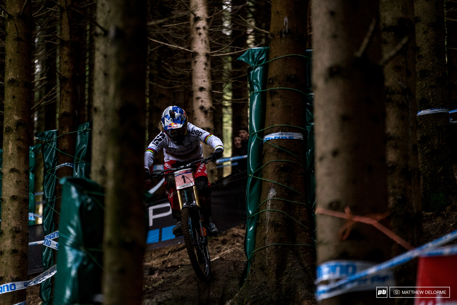 Rachel Atherton running to a second place qualifying today. The champ is no stranger to sloppy conditions like these look for her to lay down the gauntlet tomorrow.
