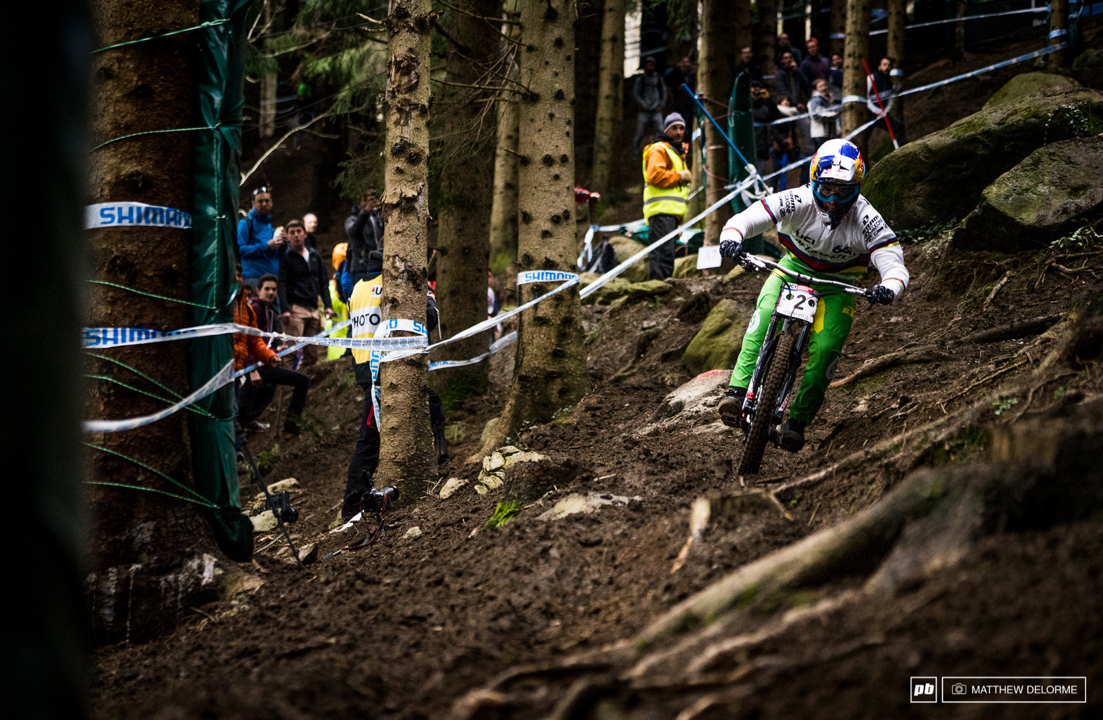Loic Bruni has been called the first Pope of Downhill this week. We can see why. He s been blisteringly fast on a track where many have struggled. He has parted the mud and the water with seems could only be divine ability. Loic qualified first today in his technicolor rainbow jersey.
