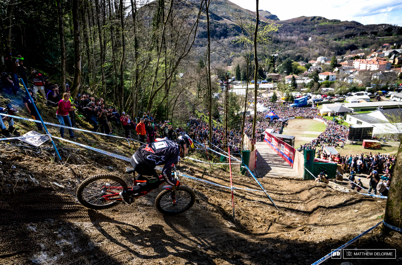 Aaron Gwin charging into the finish area.