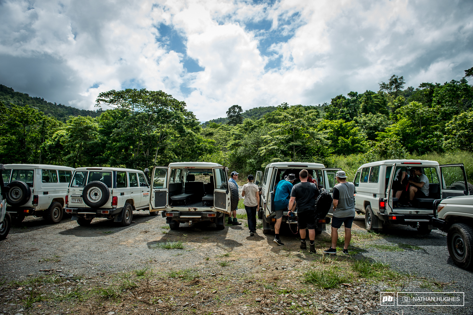 The gondola down the road isn t for bikes sadly... enter the herd of trusty Cairns Jeeps.