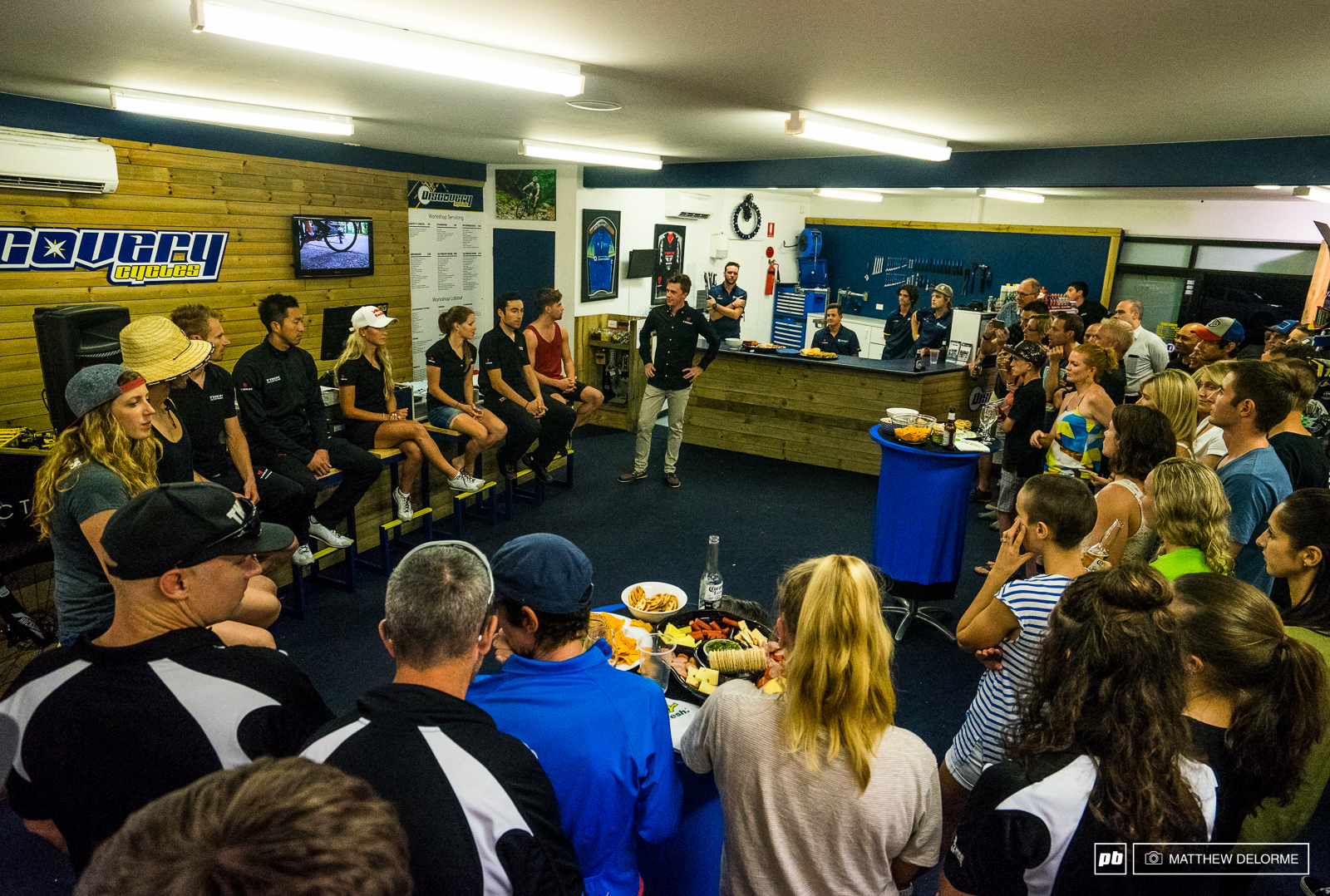 Both Trek Factory XC and DH got together to greet the fans at the local Trek dealer tonight after practice.