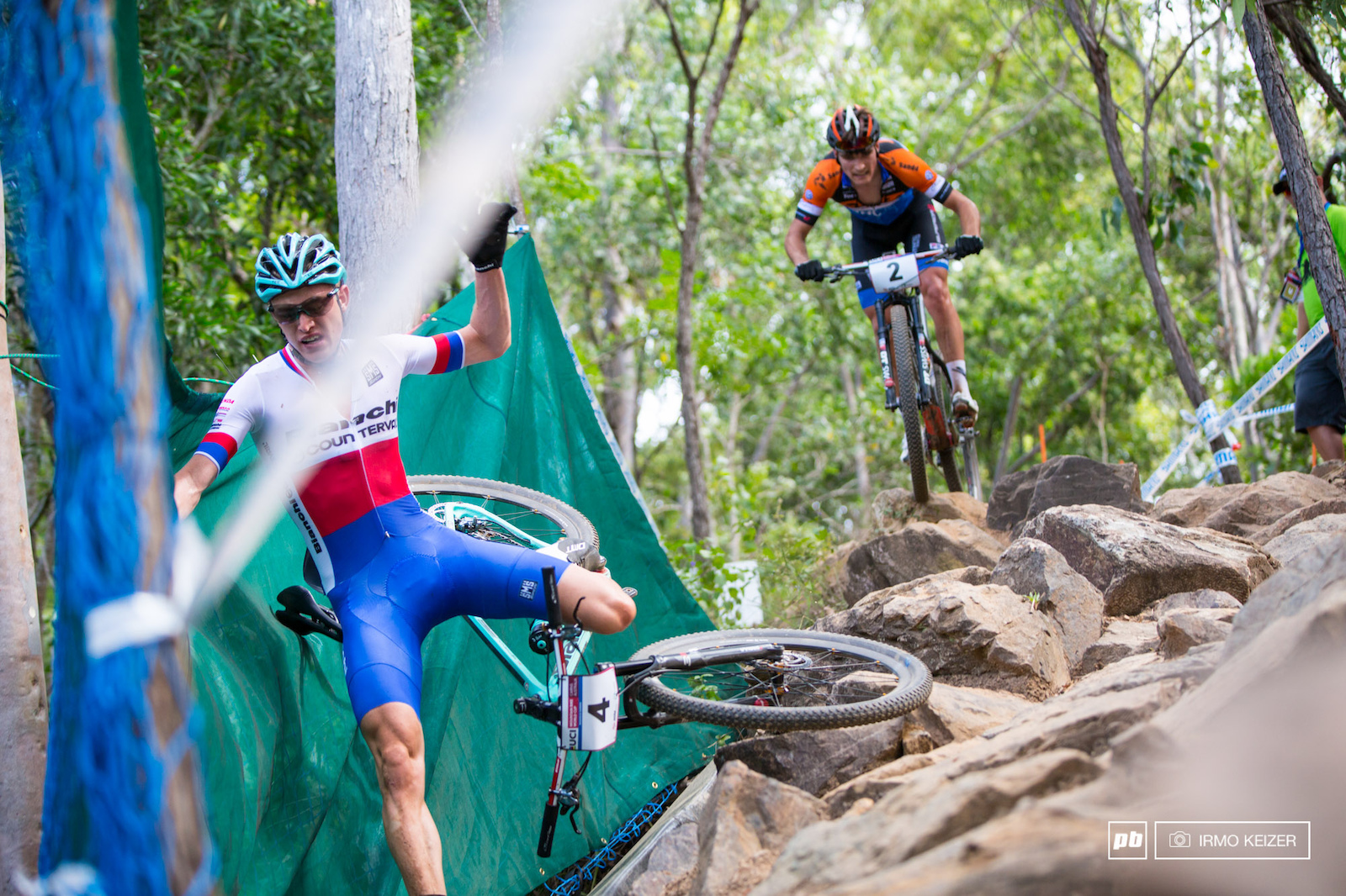 Jan Vastl crashes in the rockgarden. The course would claim multiple victims during the day.