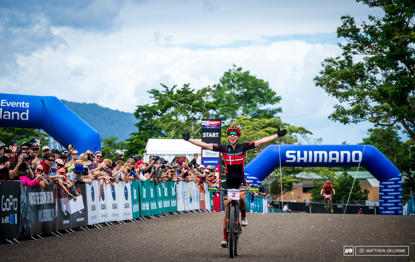 Annika Langvad pulls out win number one.
