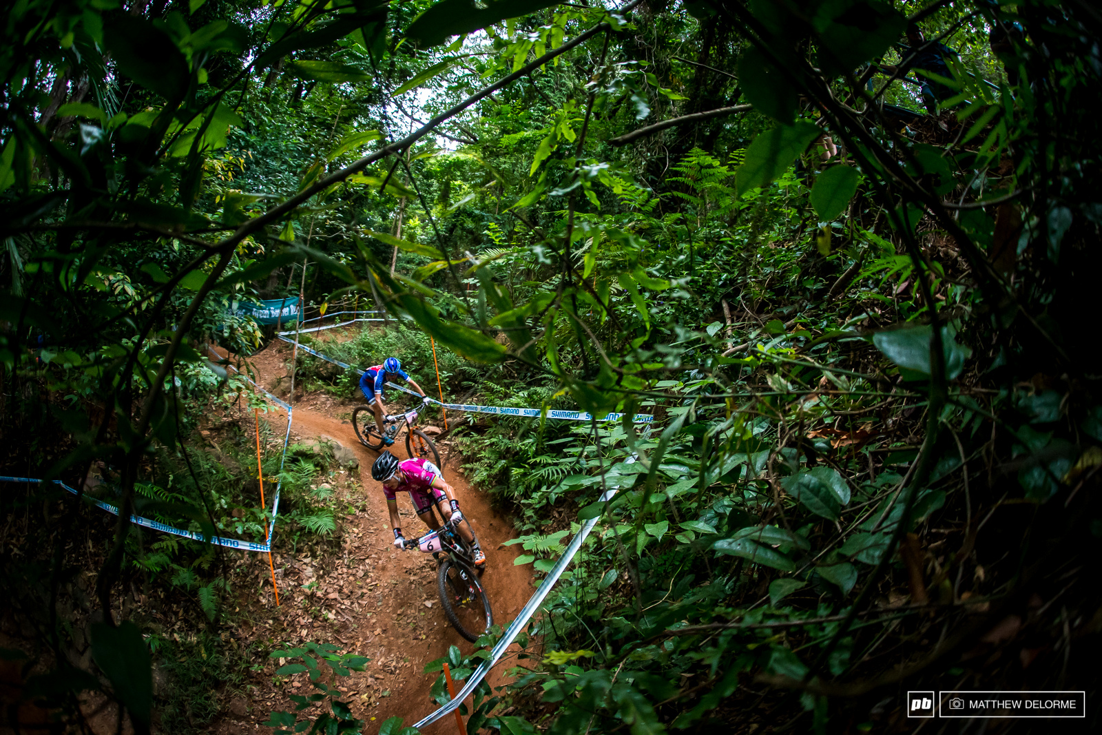 Sabine Spitz weaving her way through the leafbro to a fifth place finish.