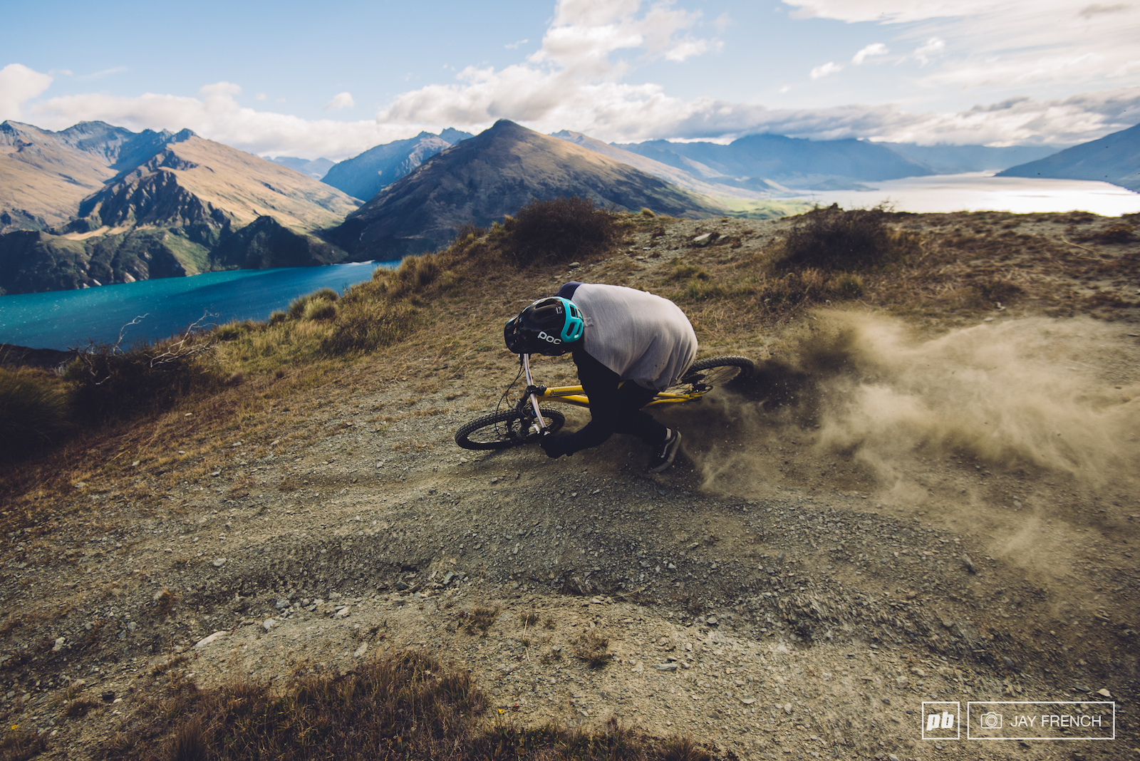 Elmo works on his drift multiplier with Lake Wanaka as a backdrop.