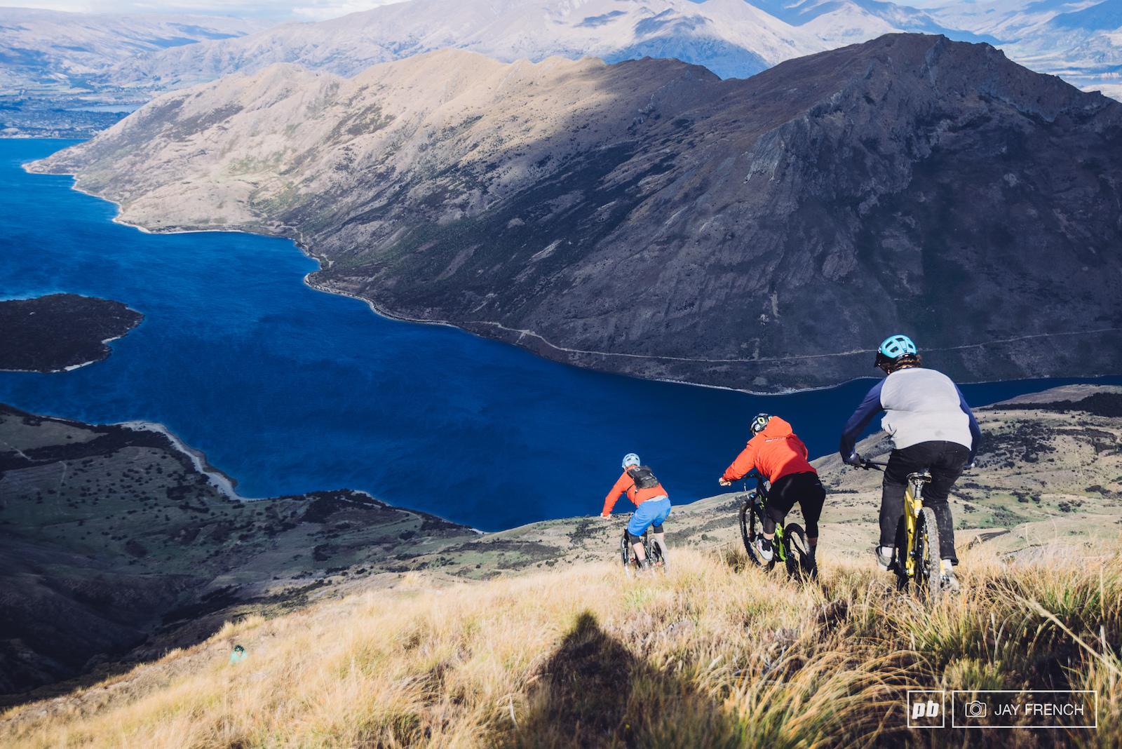 The boys head straight down a ridge line towards the lake