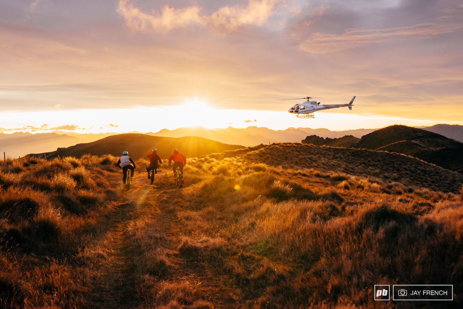 The banger. As Tim head off back to base in Wanaka the boys ride off into the sunrise with Conor on back wheel