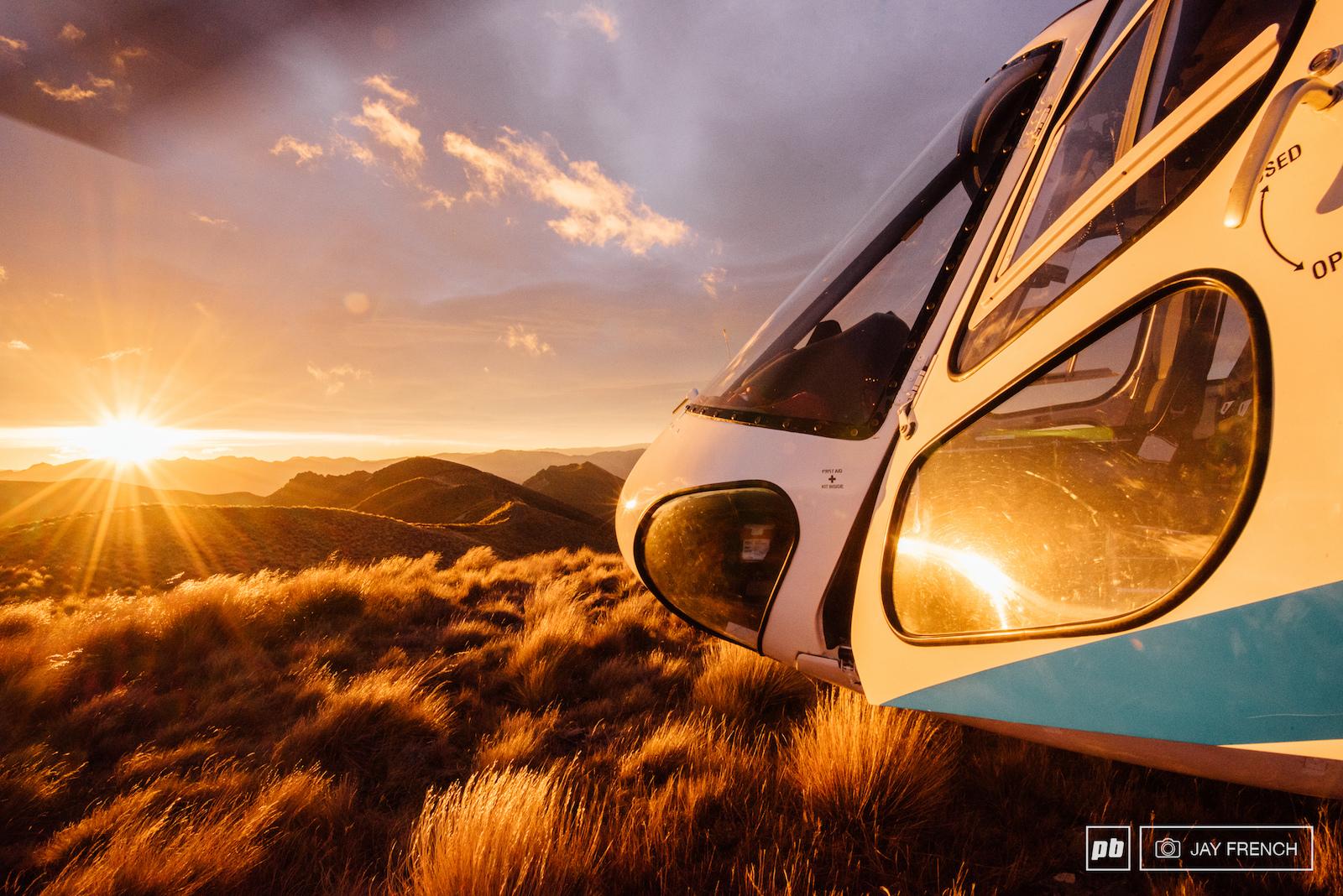 Classic hilltop heli sunrise shot.