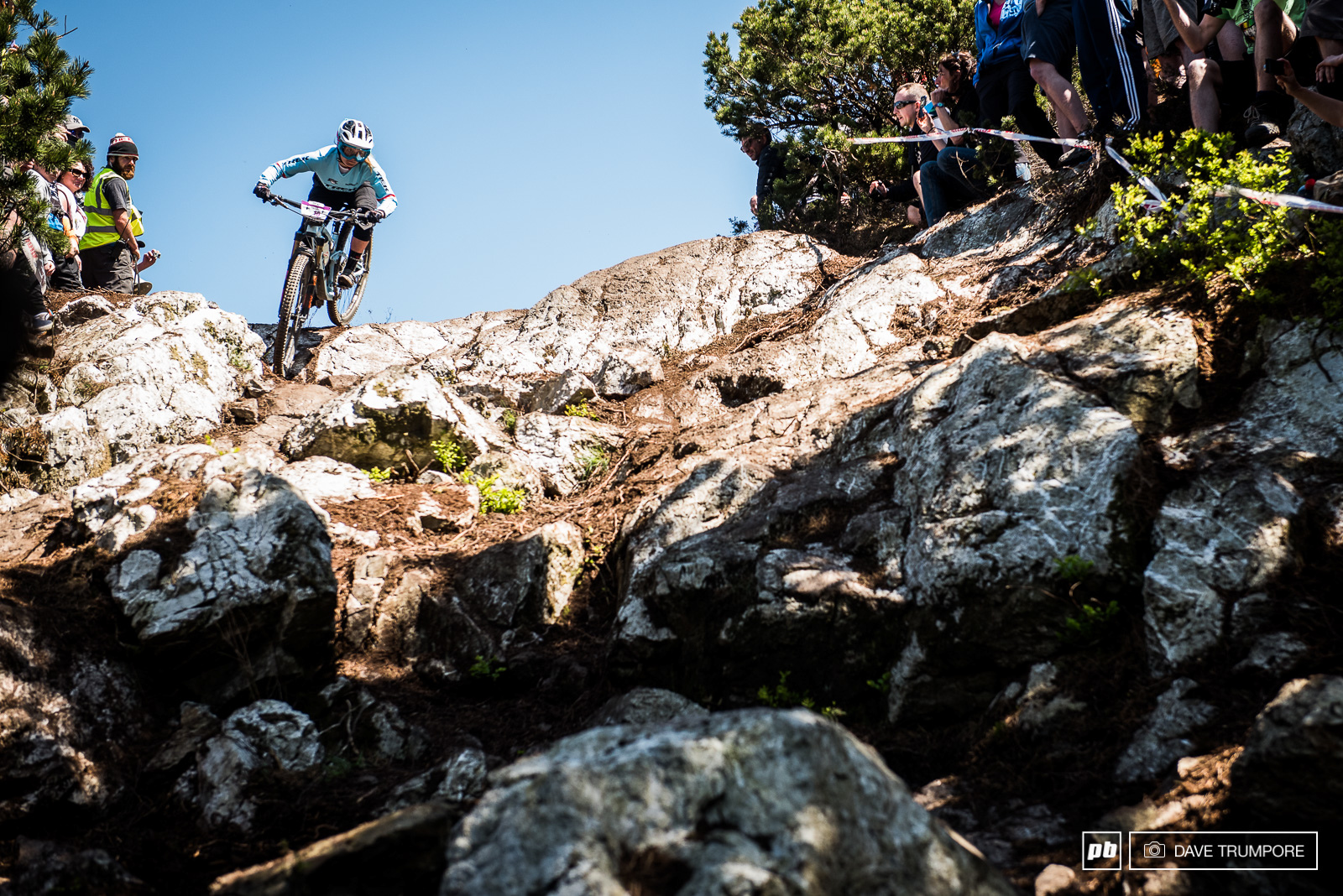 Katy Winton drops into the gnarly rocks at the top of stage three.