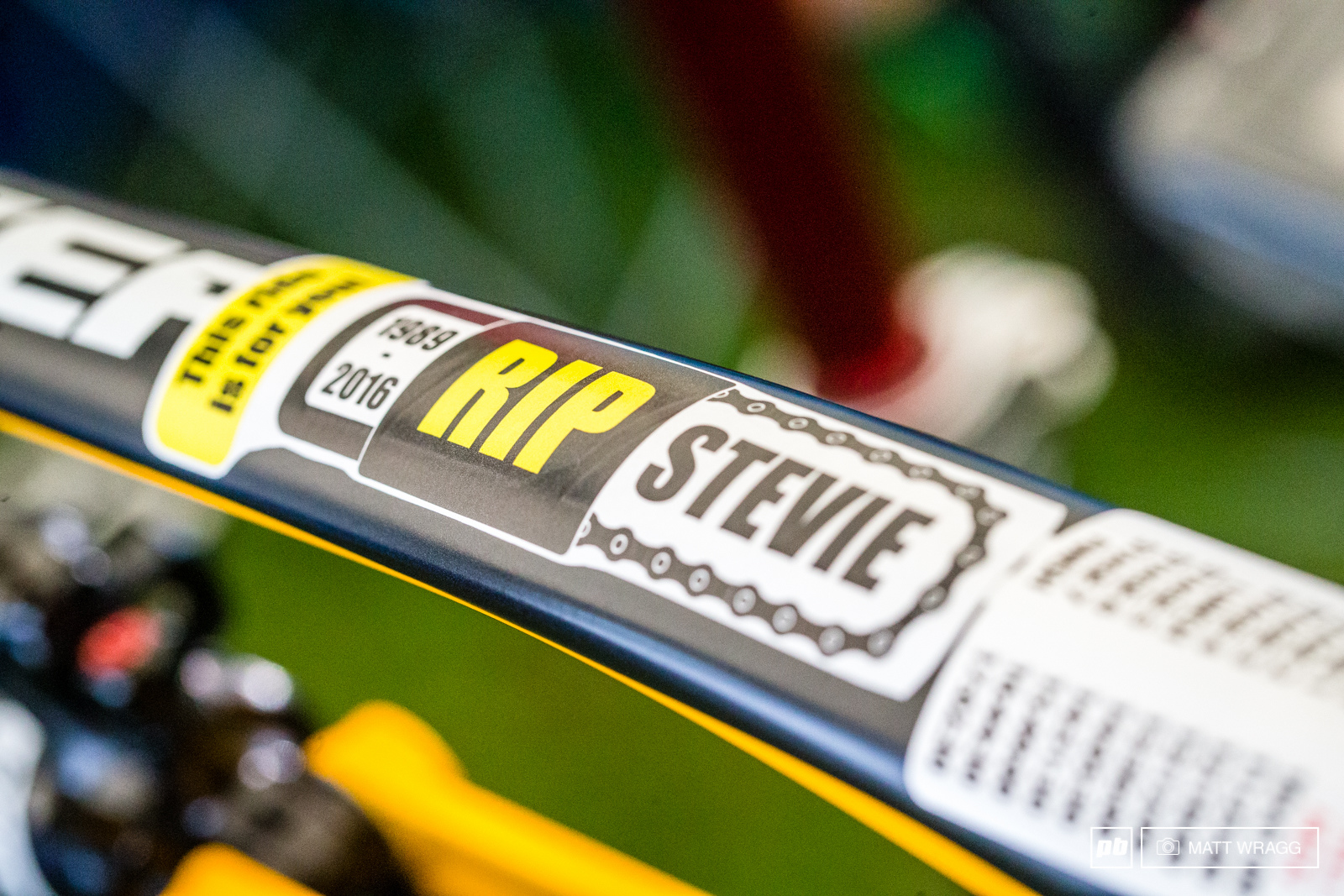 Sam Hill s toptube this weekend.