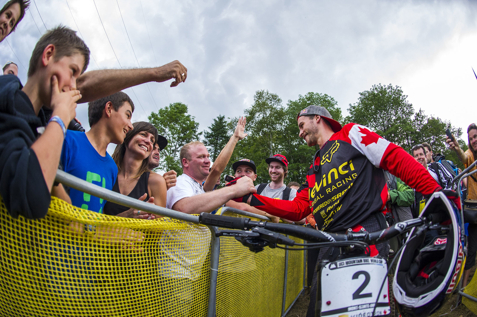 Steve at the 2013 UCI MTB World Cup DH race at Mt St Anne in Quebec moments after taking the win.
