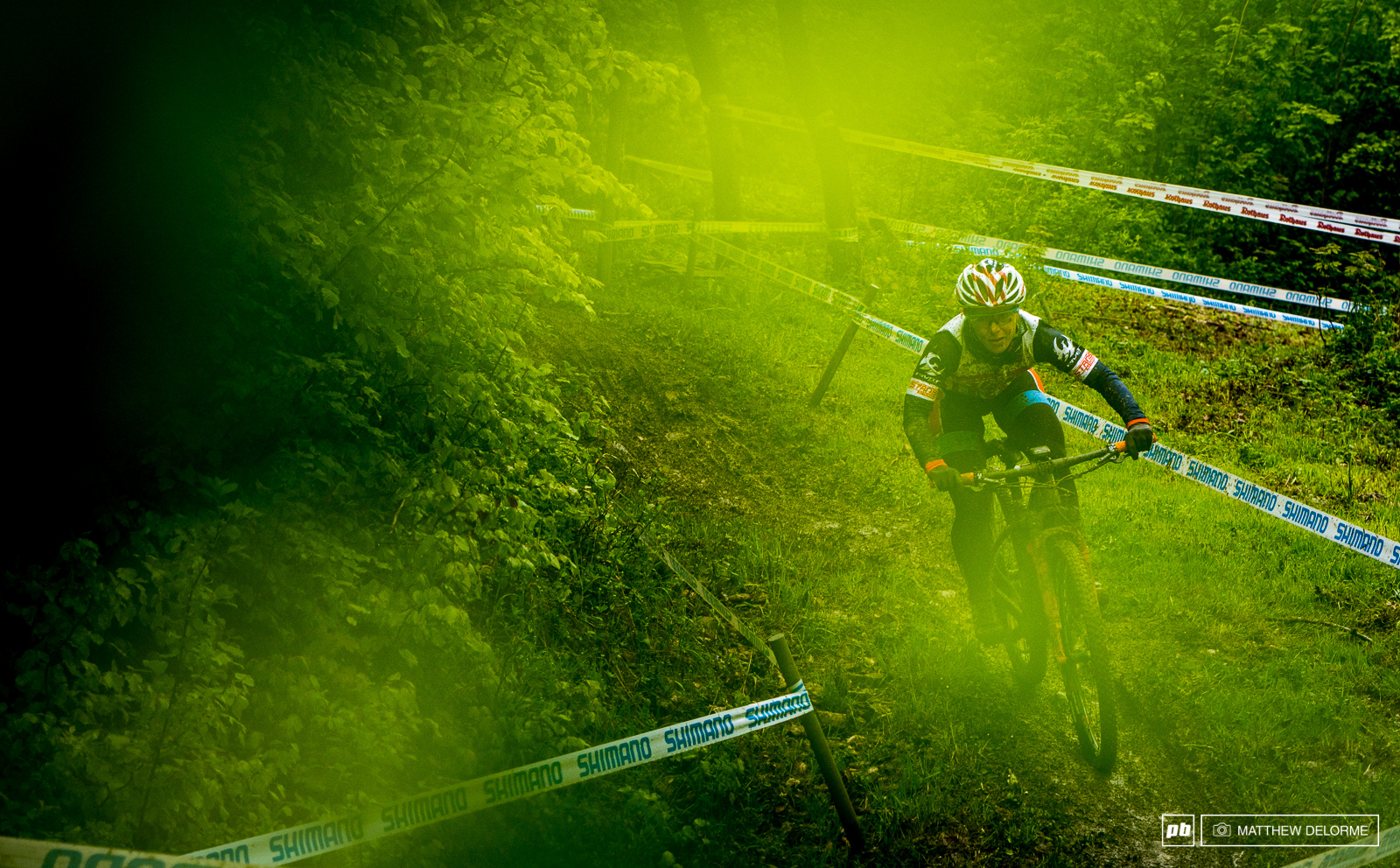Chloe Woodruff on the fast single track descent during practice.