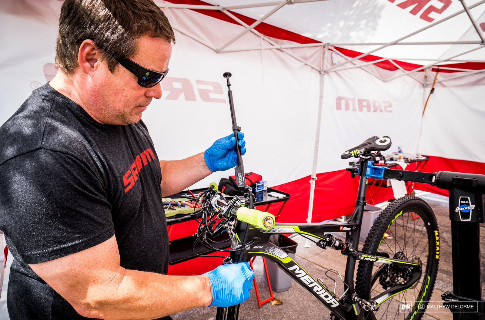The SRAM boys were working full tilt to keep riders bikes in top shape.