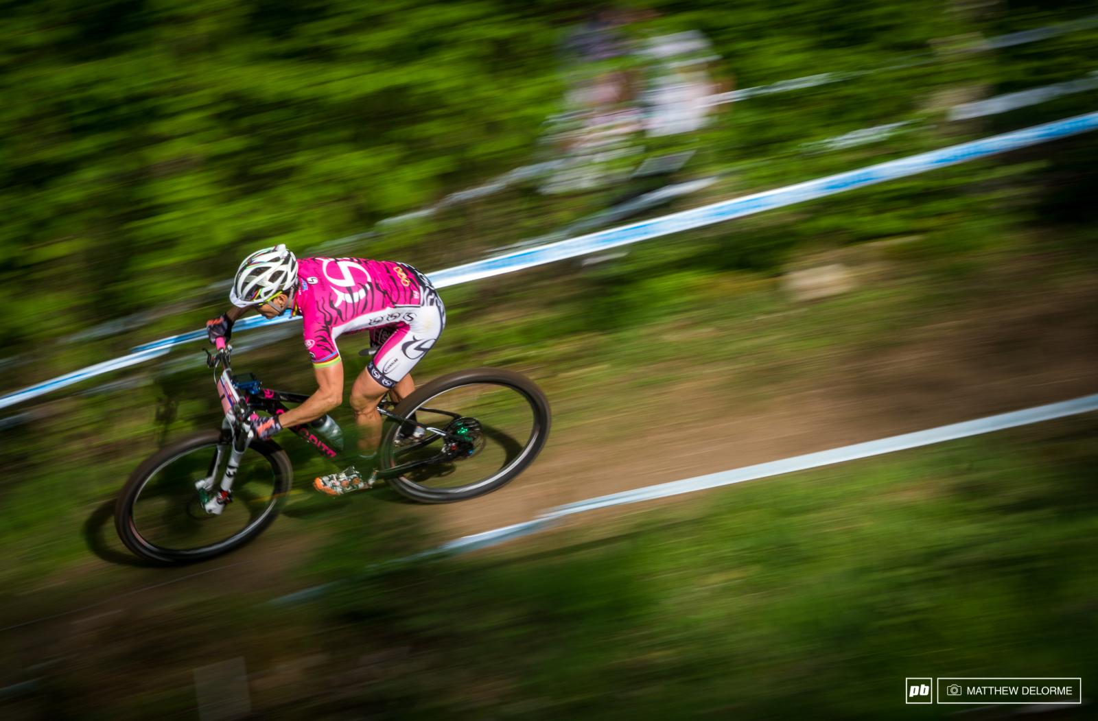 Sabine Spitz speeding her way down the mountain.