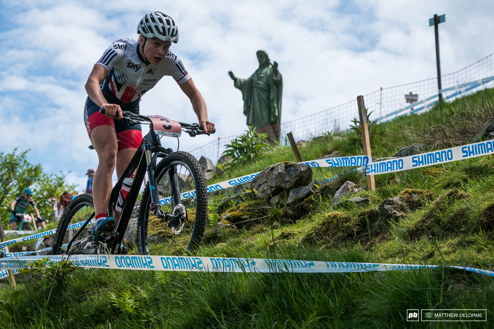 Evie Richards came out guns a blazing with a first lap lead. she finished second for the day.