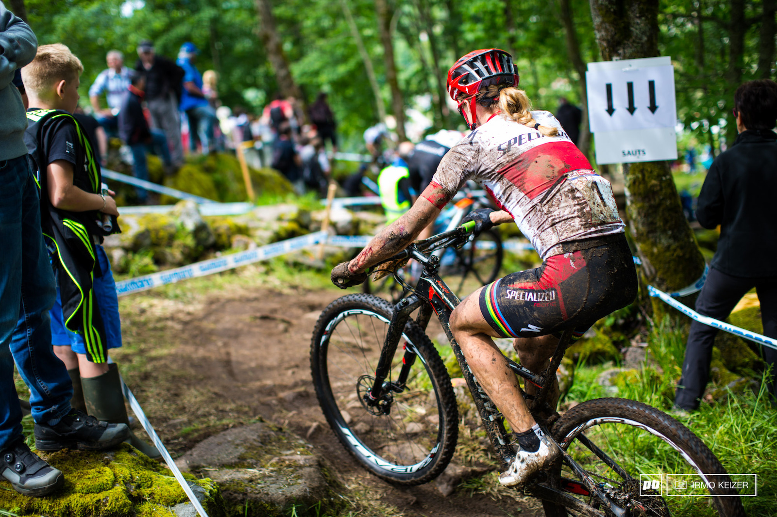 Battle wounds on Annika Langvad. The Danish lady struggled with the course in La Bresse but managed to cling on to the lead in the World Cup.