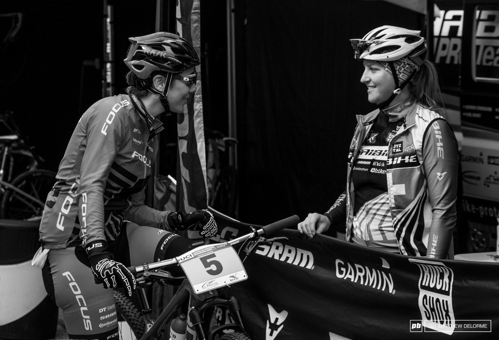 Linda Indergand and Kathrin Sternimann have a laugh before racing gets underway.