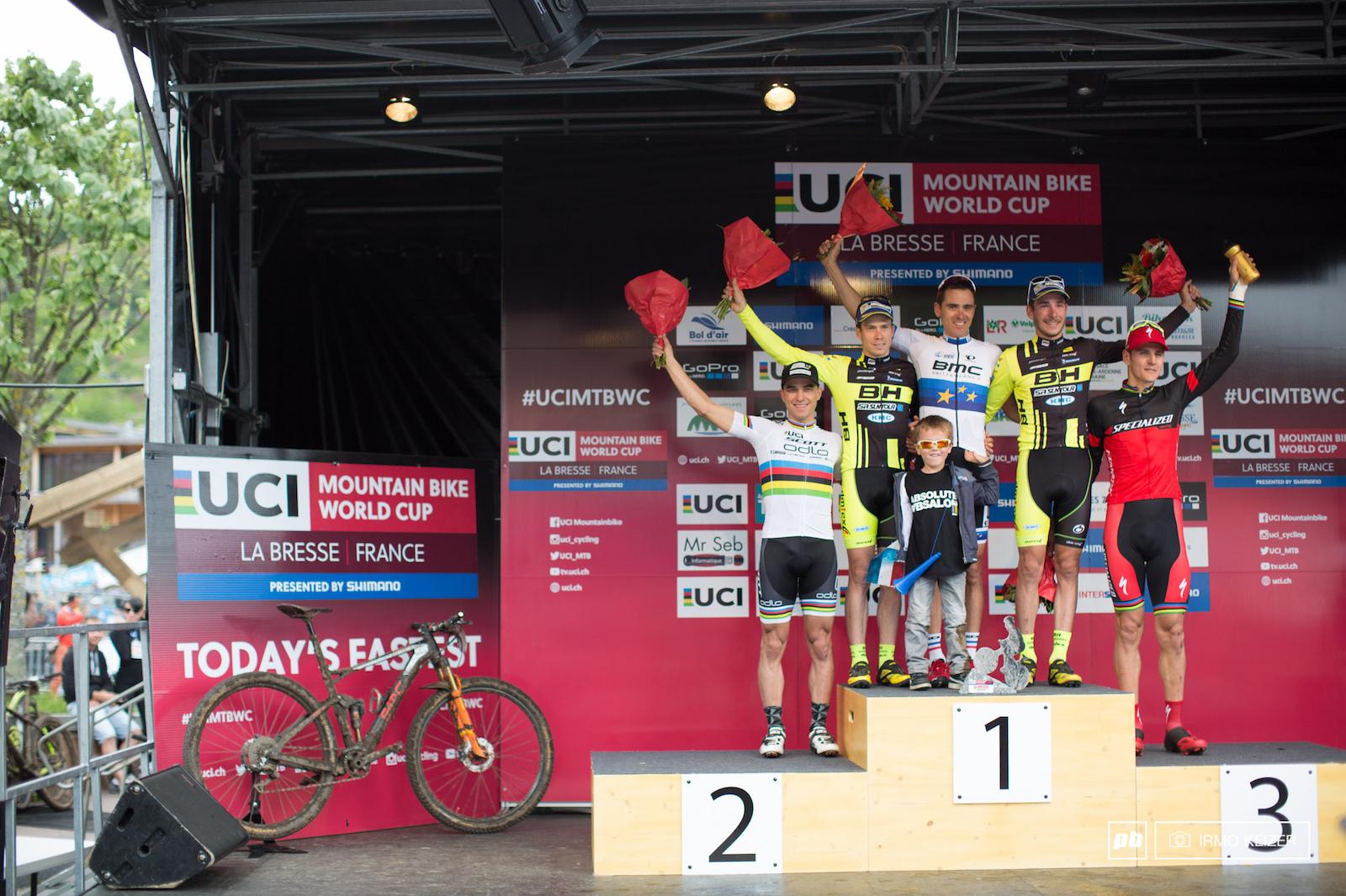 Your men s podium with Julien Absalon Maxime Marotte Victor Koretzky Nino Schurter and Jaroslav Kulhavy