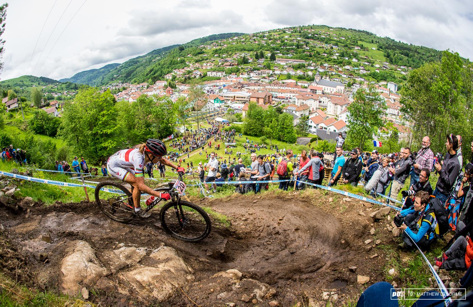 Maja Wlozsczowska traversing with La Bresse below. She rode to fifth place today.