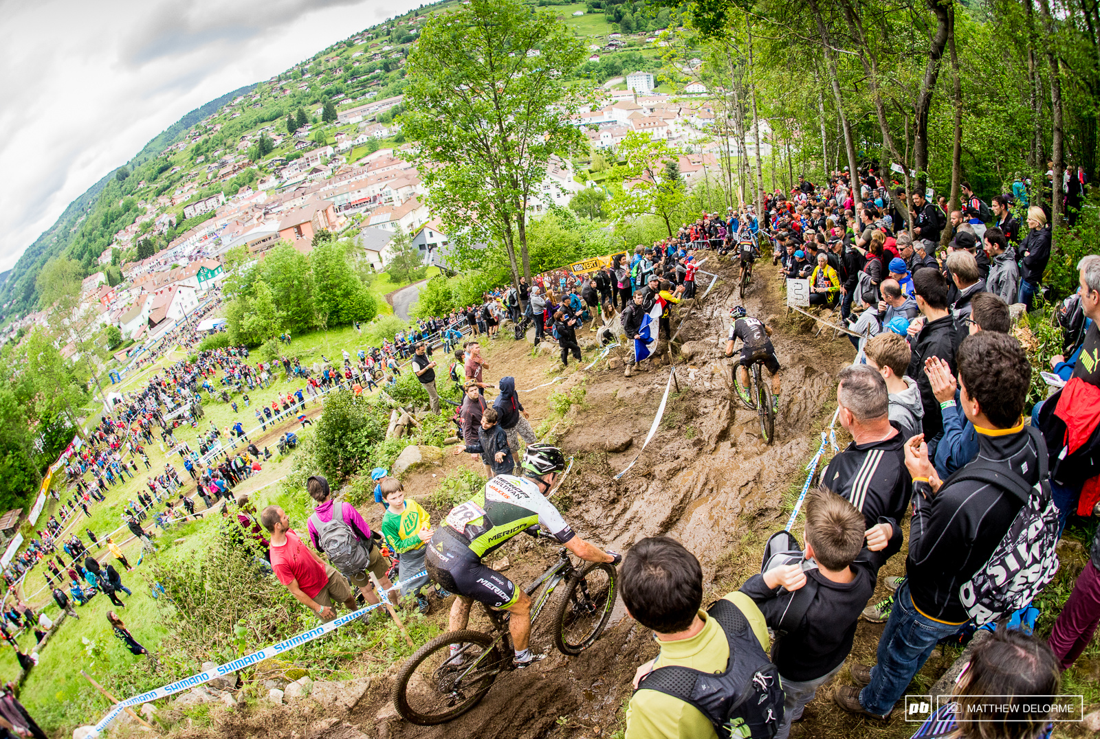 It was one big slip and slide through the crowd at the last descent.