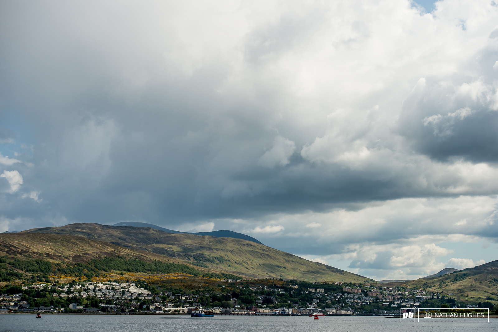Fort William town across the waters Loch Linnhe.
