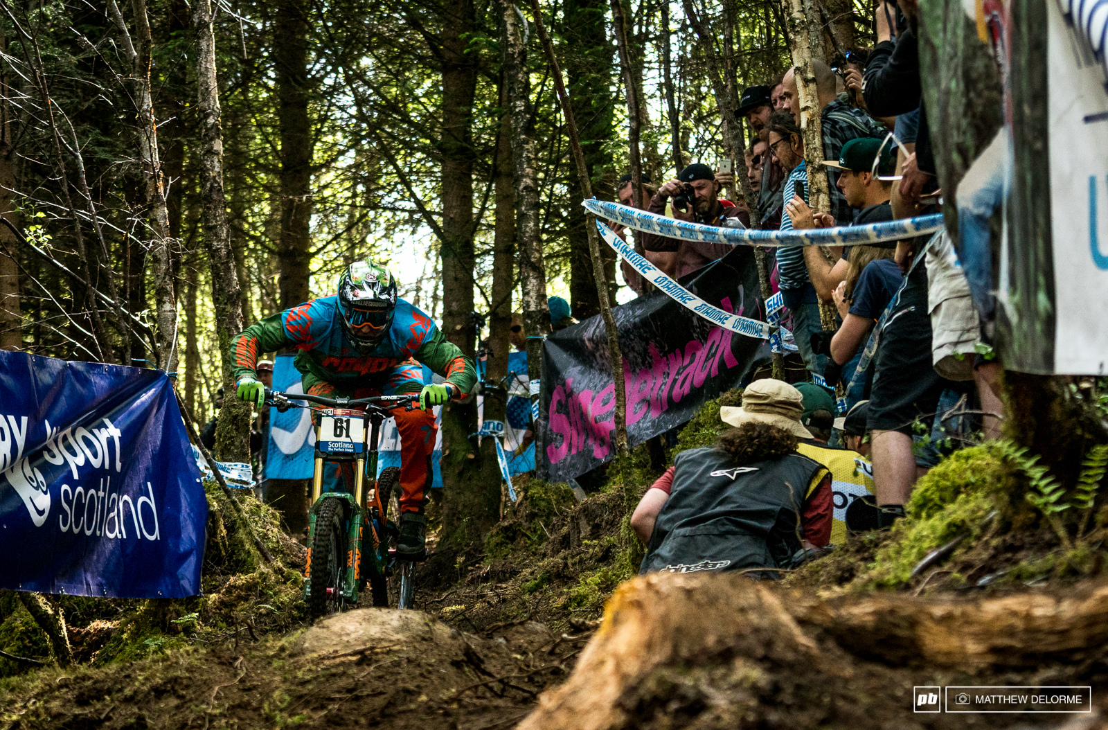 Peaty coming to grips with the fresh woods section. If riders weren t having a tough time on the loose upper sections of the track they were in the fresh woods.