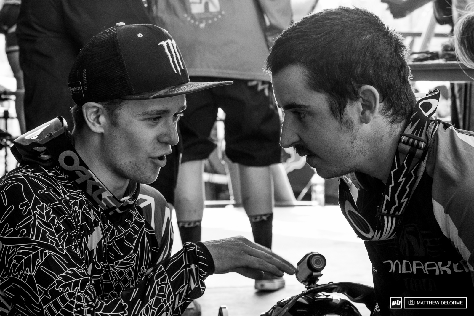 Troy and Danny exchange war stories post race.