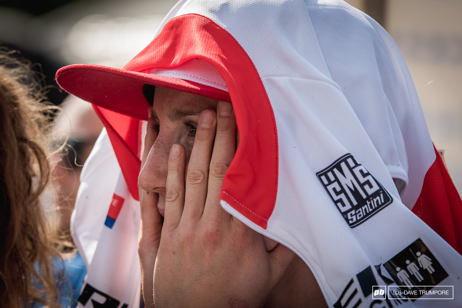 Rachel s reaction as she watched Gee s crash on the big screen in the finish arena. While his crash may not have looked that severe on the live feed believe us when we say he took a big slam in one of the gnarlier rock sections and his status for next weekend is questionable.