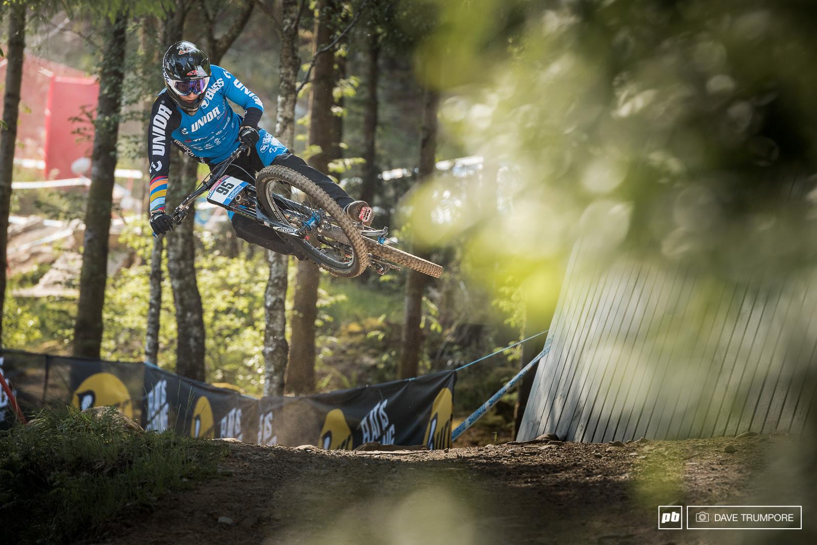 Reece Wilson sends it sideways in the early morning practice.